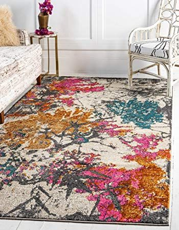 Unique Loom Aurora Collection Abstract Botanical Vintage Beige Area Rug 8 0 x 10 0