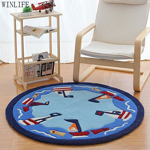 WINLIFE Cartoon Sailing Boat Round Carpet Brand Blue Round Kids Rug Circle Rug