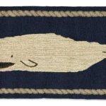 White Whale on Blue 2'x4' Rug