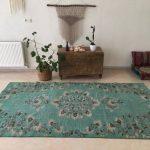 blue turkish rug / vintage oushak rug / large floor rug / living room rug / turkey rug / boho rug / antique rug / 5.3 x 9.5 ft. / RK 1024