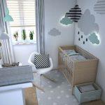 modernes babyzimmer in mint und grau attraktive wanddekoration teppich gepunktet