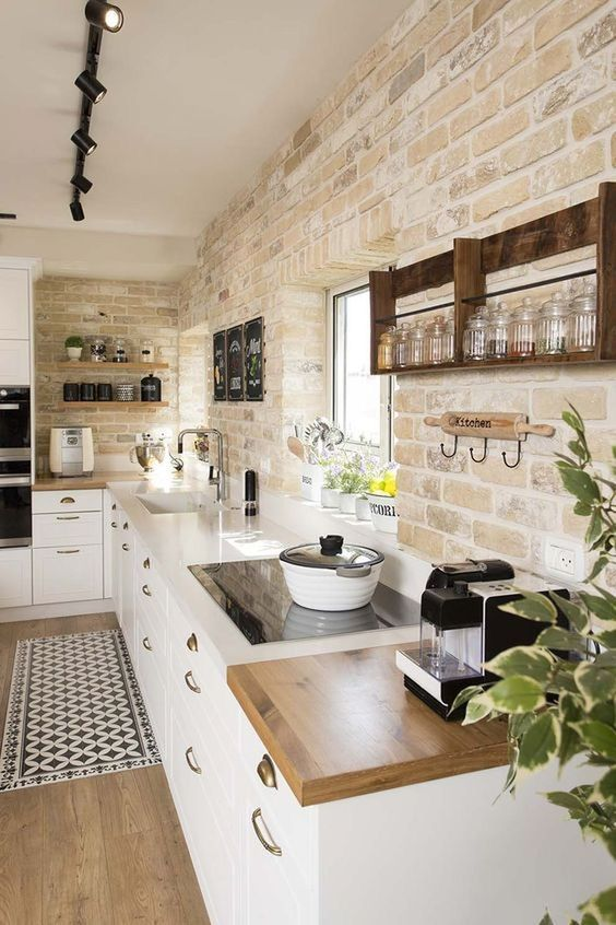 stone and wood are a must for modern rustic spaces, use it on the walls, floors …